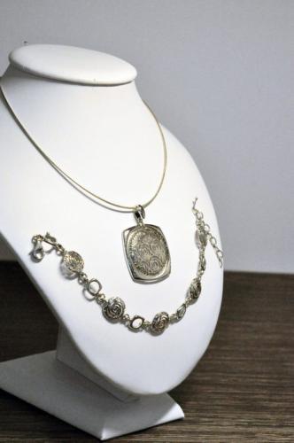 Komplet biżuterii srebrnej (925) rodowany