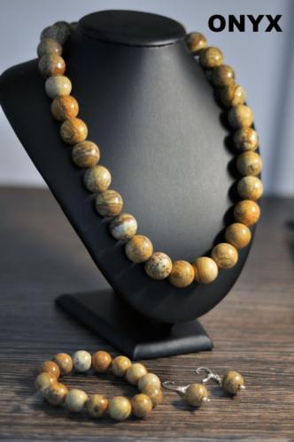 Naszyjnik, bransoletka i kolczyki z jaspisu krajobrazowego- dostępne różne wzory